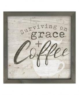 LFR 0039 Veggdekor - Surviving On Garce & Coffee (30 x 30 cm)
